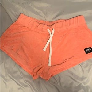 Pink fleece shorts